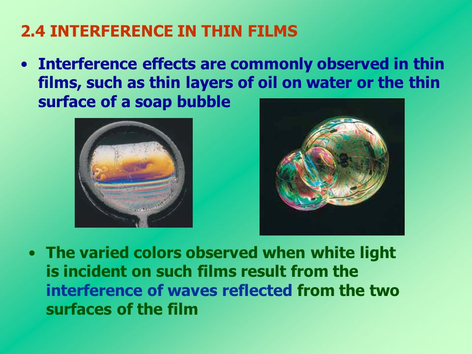 2.4 INTERFERENCE IN THIN FILMS