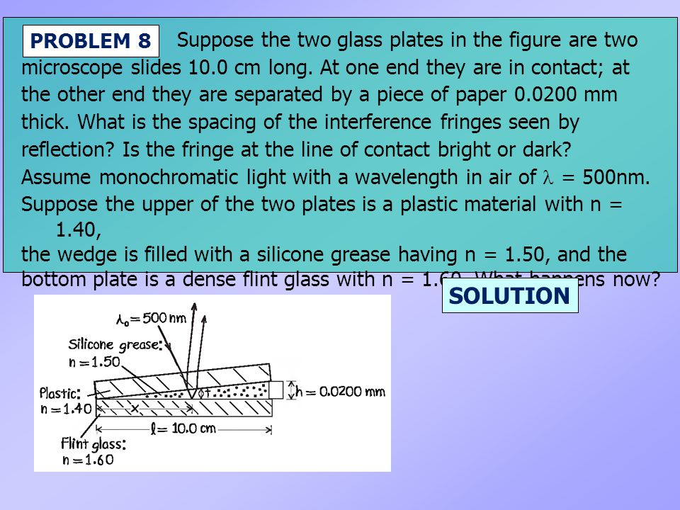 SOLUTION Suppose the two glass plates in the figure are two PROBLEM 8