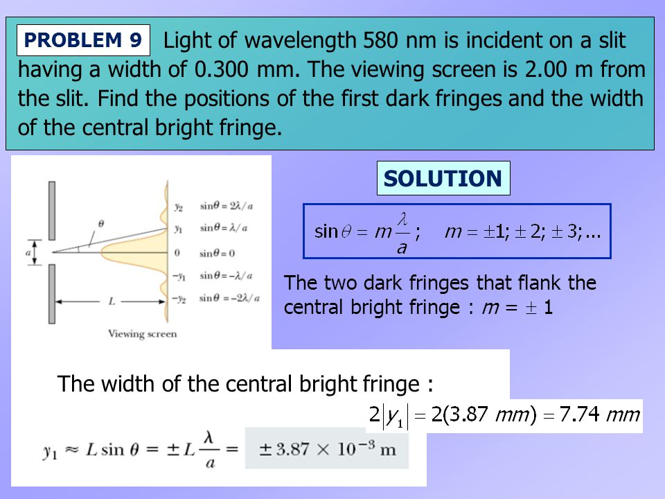 Light of wavelength 580 nm is incident on a slit