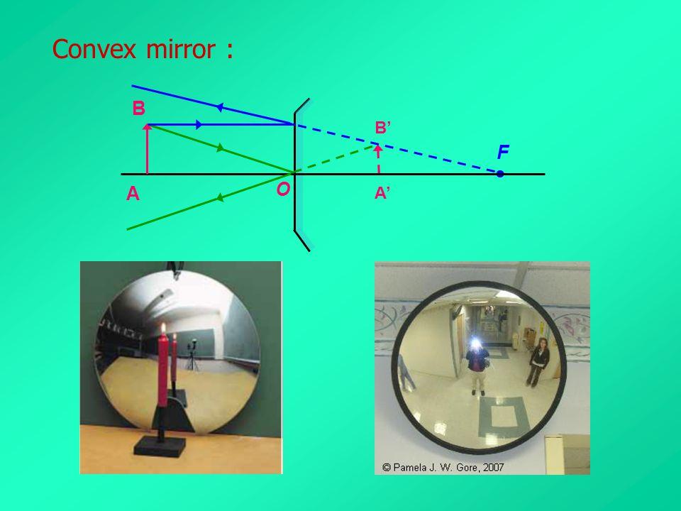 Convex mirror : B B' F  A O A'