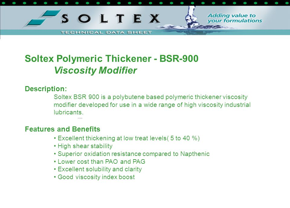 Soltex Polymeric Thickener - BSR-900 Viscosity Modifier