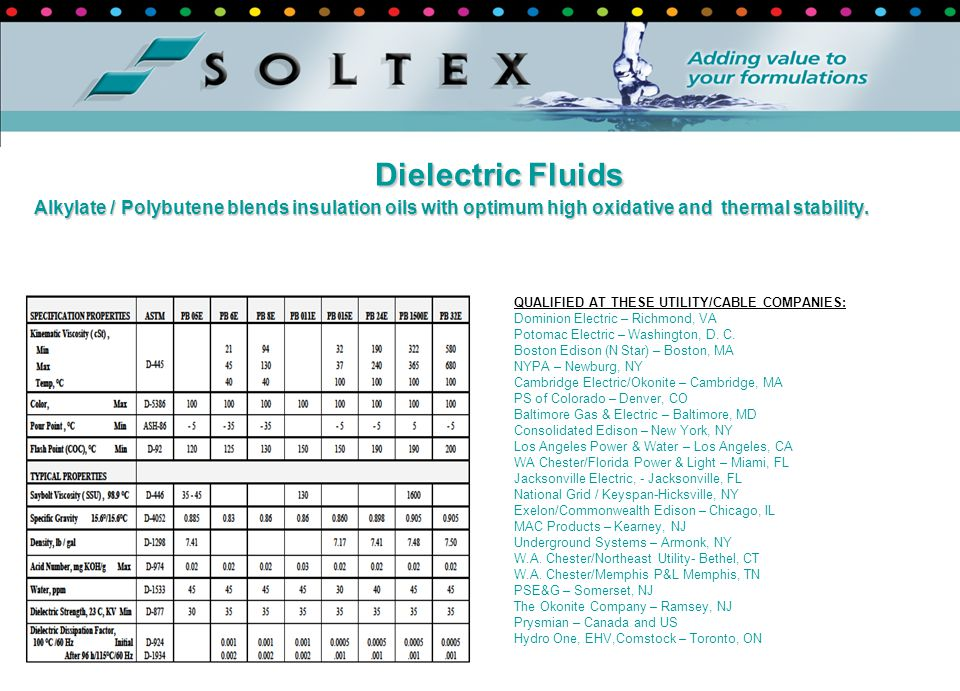 Dielectric Fluids Alkylate / Polybutene blends insulation oils with optimum high oxidative and thermal stability.