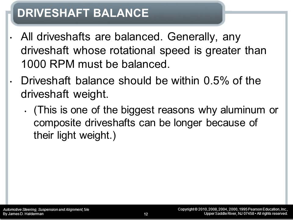 Driveshaft balance should be within 0.5% of the driveshaft weight.