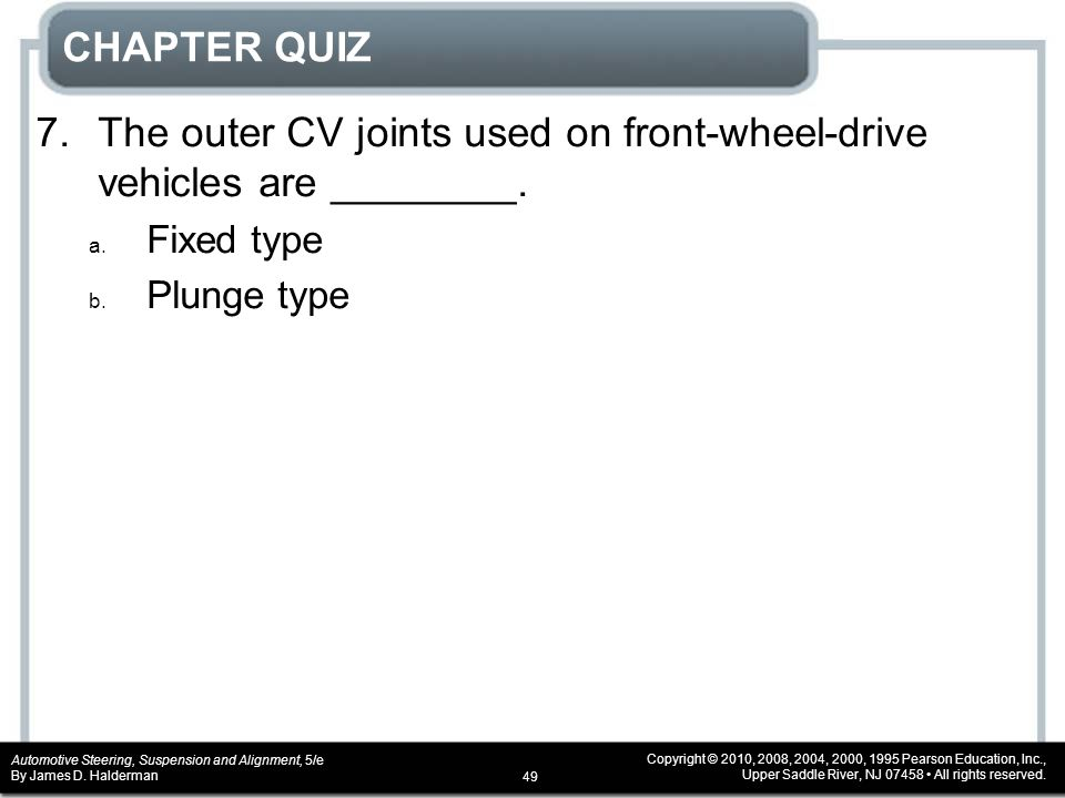 CHAPTER QUIZ 7. The outer CV joints used on front-wheel-drive vehicles are ________.