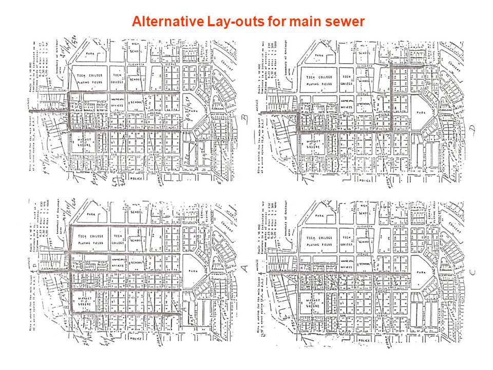 Alternative Lay-outs for main sewer