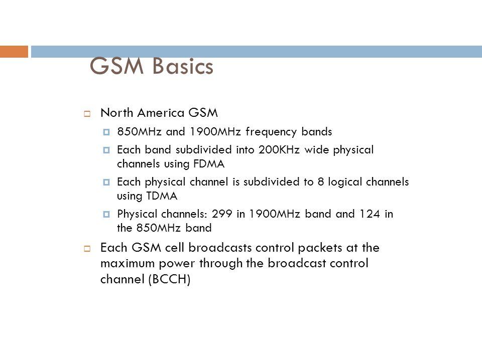 GSM Basics North America GSM
