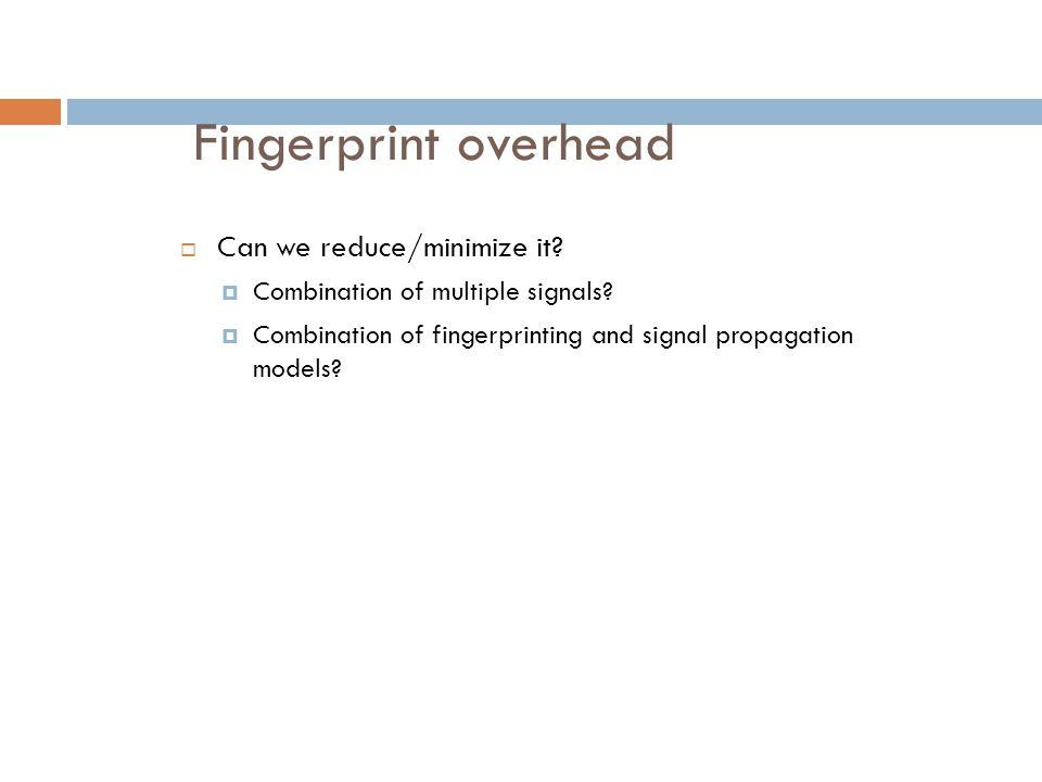 Fingerprint overhead Can we reduce/minimize it
