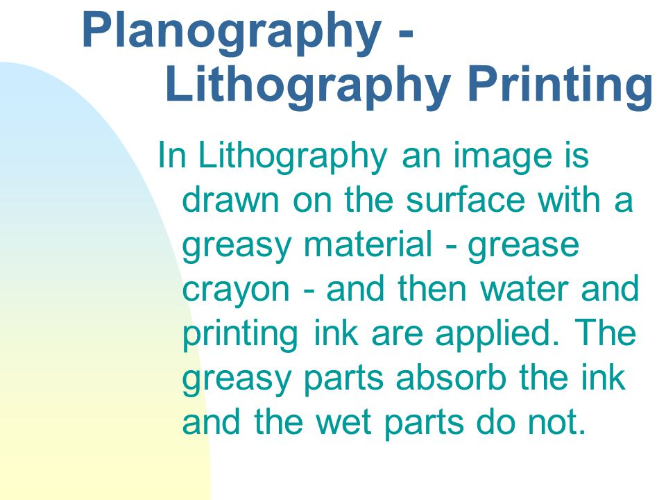 Planography - Lithography Printing