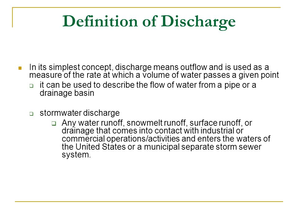 Definition of Discharge