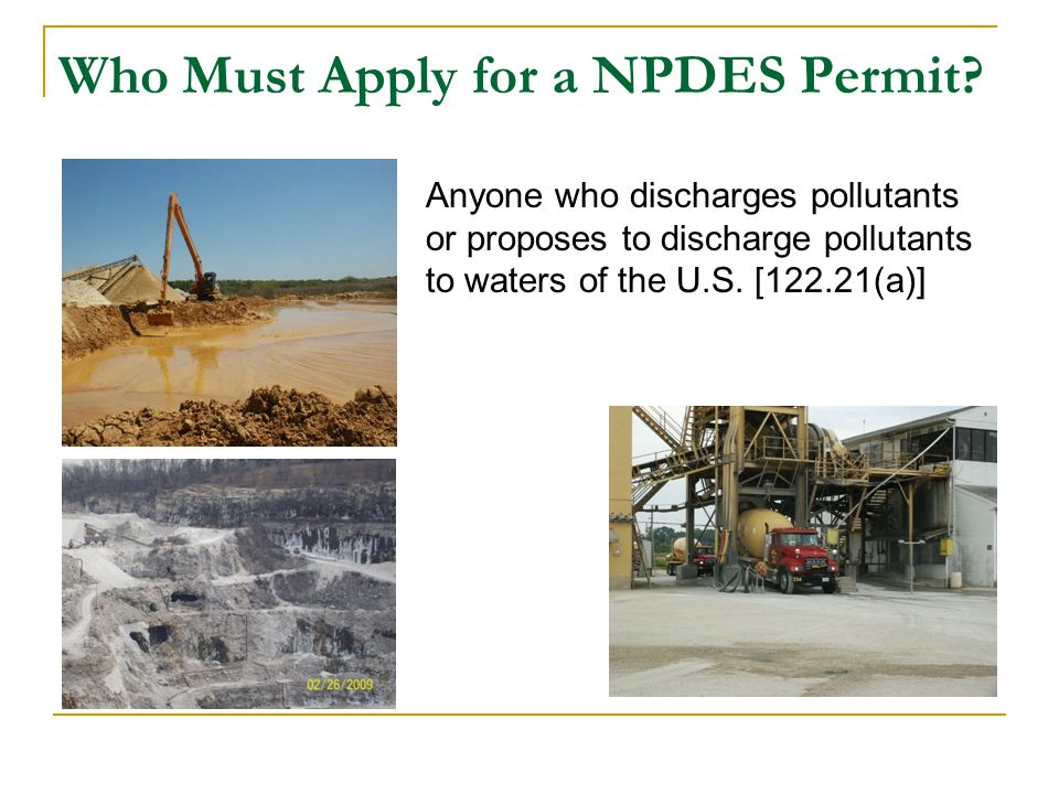 Who Must Apply for a NPDES Permit