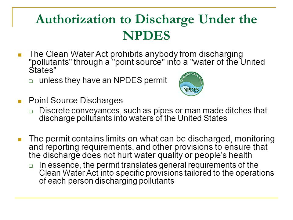 Authorization to Discharge Under the NPDES