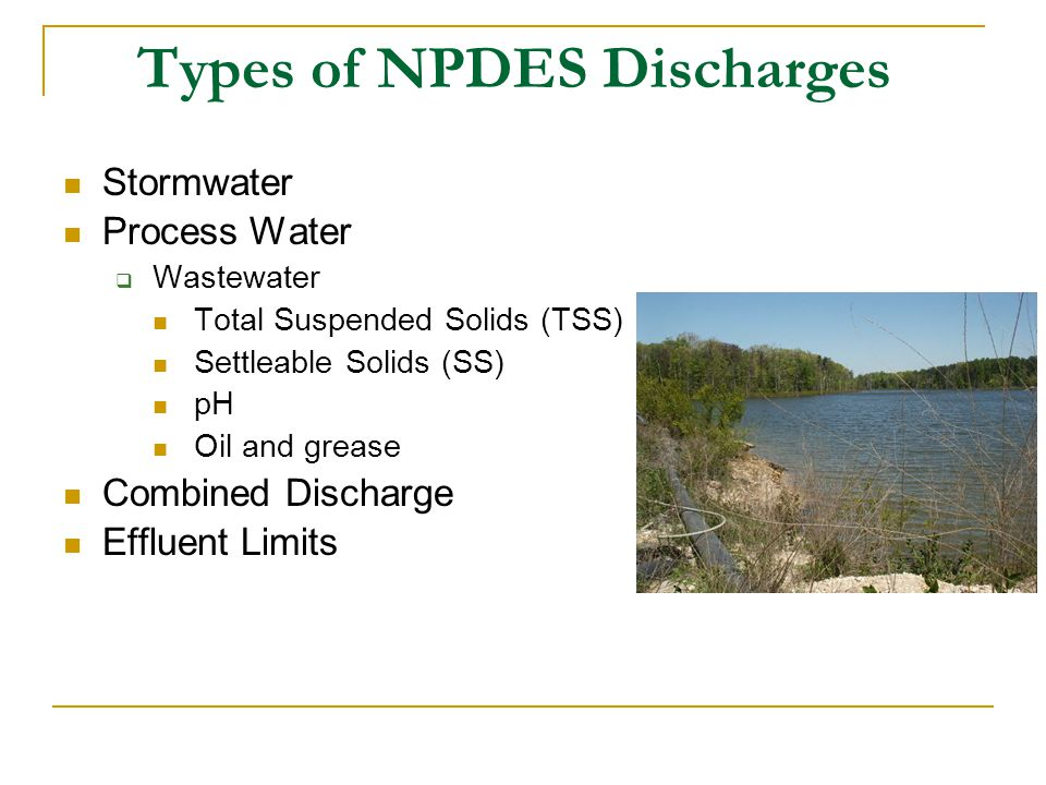 Types of NPDES Discharges