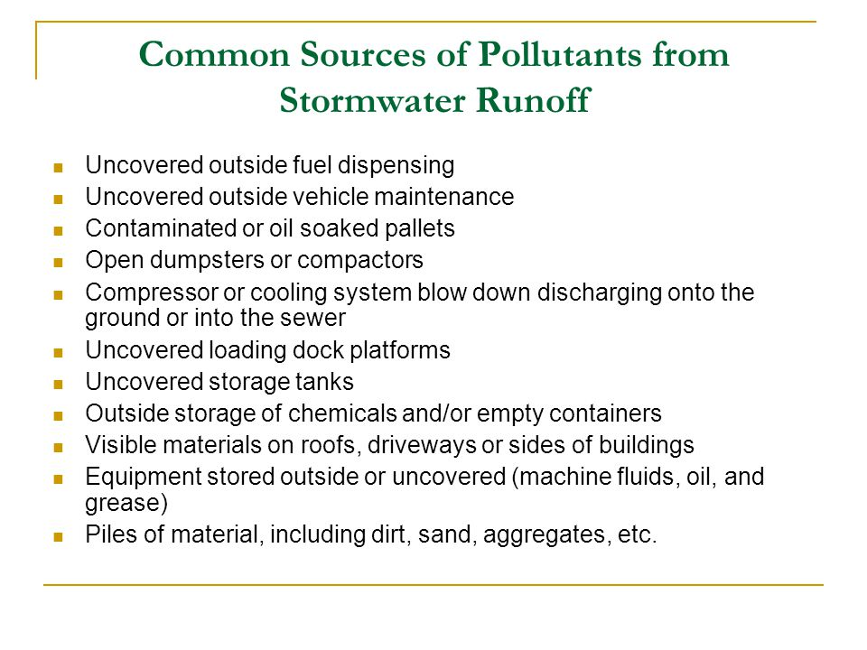 Common Sources of Pollutants from Stormwater Runoff
