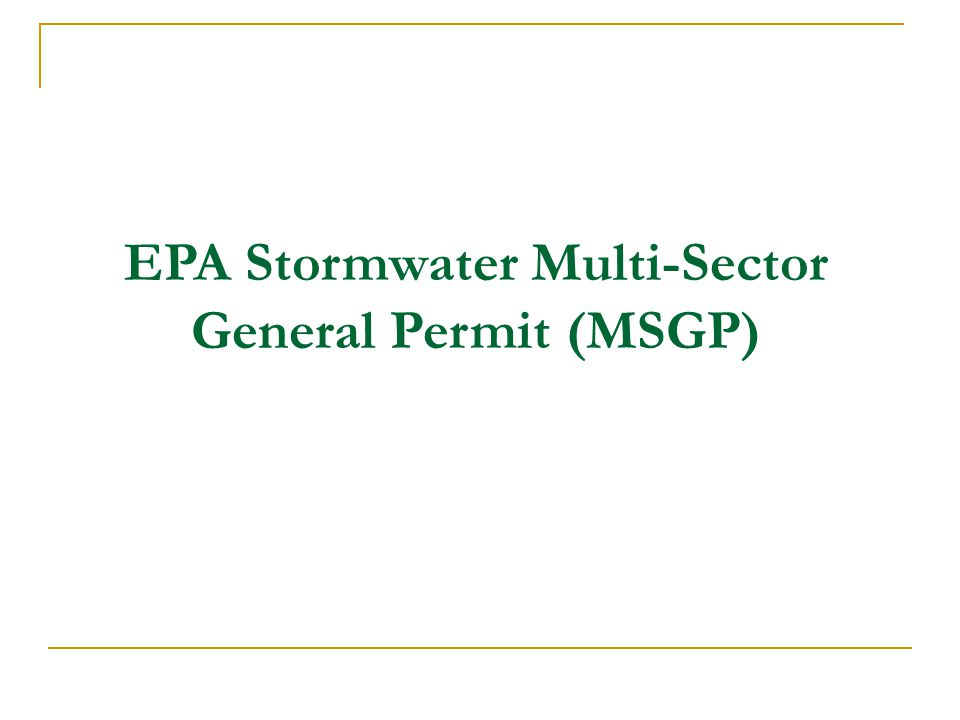 EPA Stormwater Multi-Sector