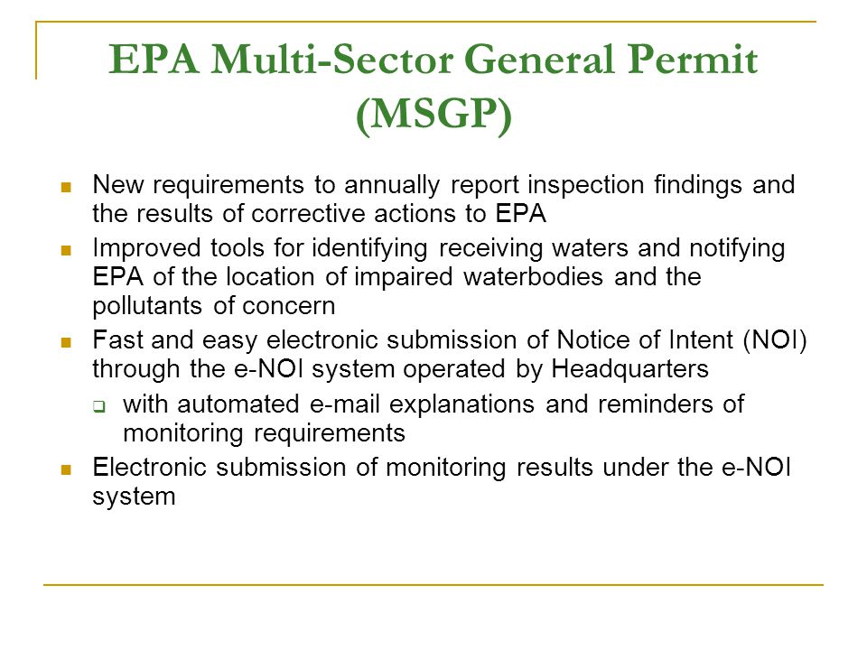 EPA Multi-Sector General Permit (MSGP)