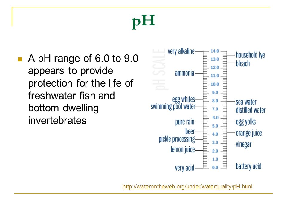 pH A pH range of 6.0 to 9.0 appears to provide protection for the life of freshwater fish and bottom dwelling invertebrates.