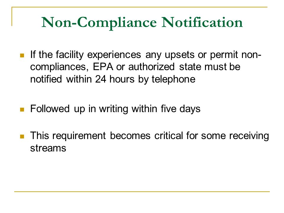 Non-Compliance Notification
