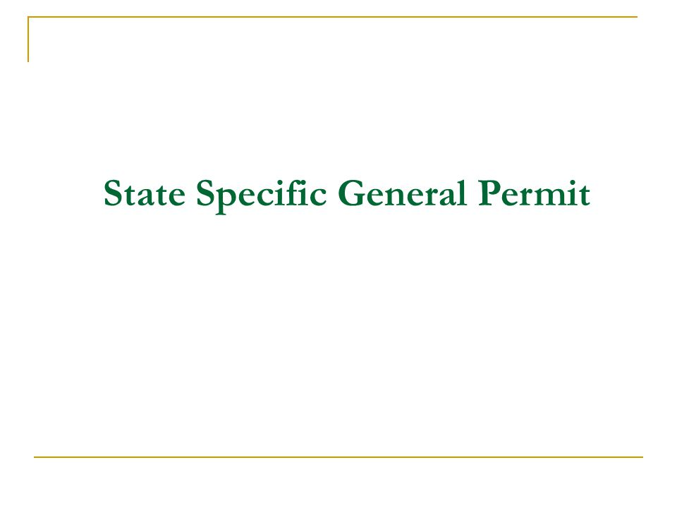 State Specific General Permit
