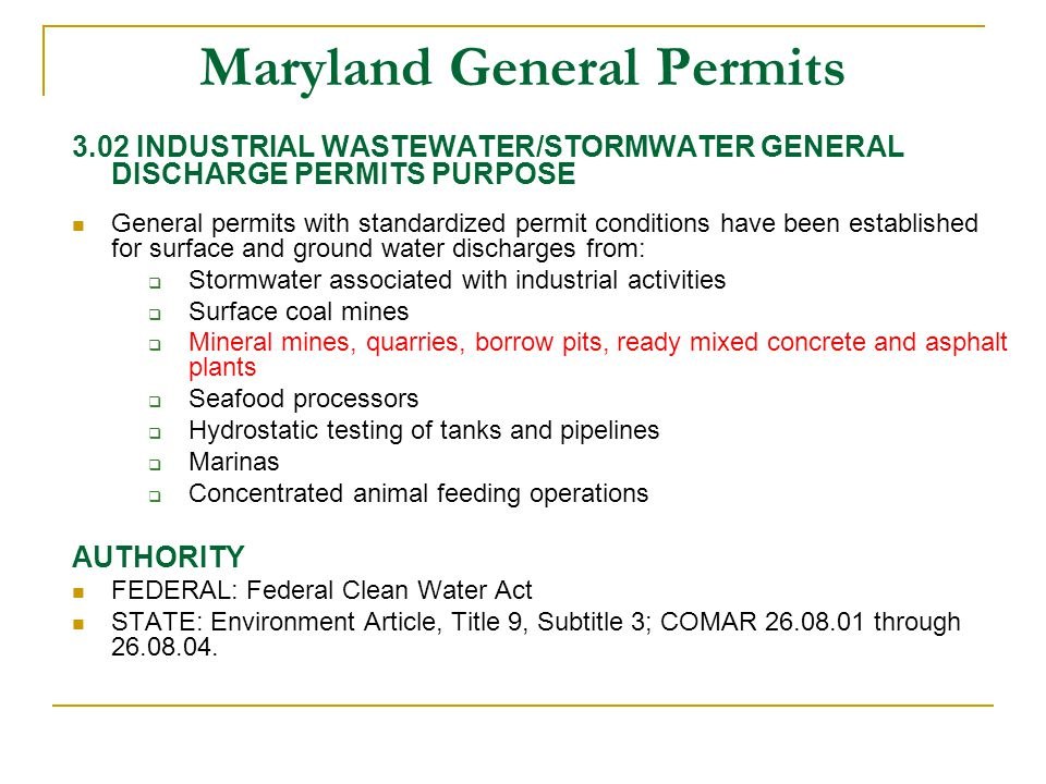 Maryland General Permits