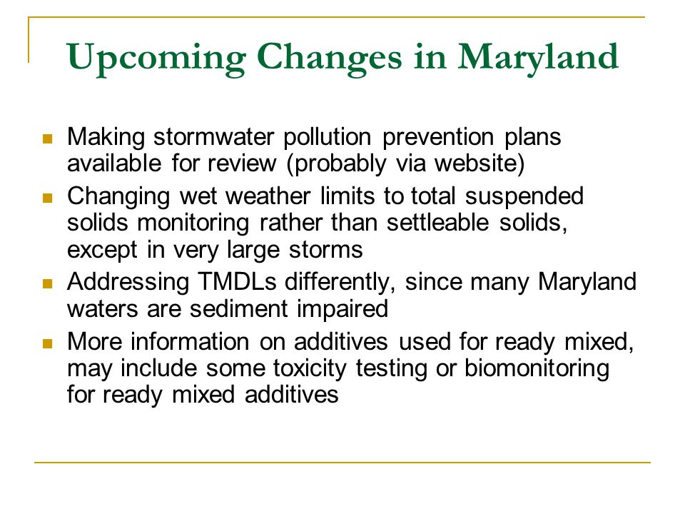 Upcoming Changes in Maryland