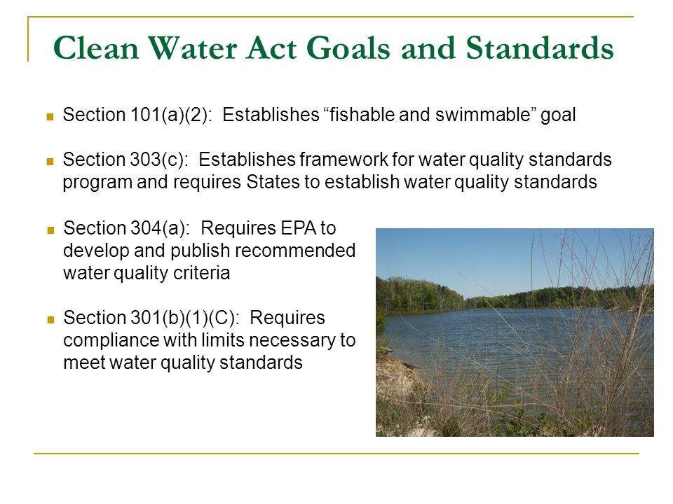 Clean Water Act Goals and Standards