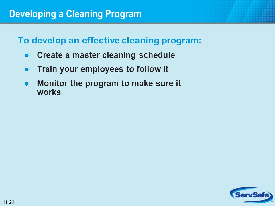 Developing a Cleaning Program