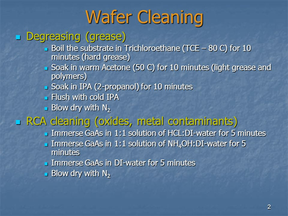 Wafer Cleaning Degreasing (grease)