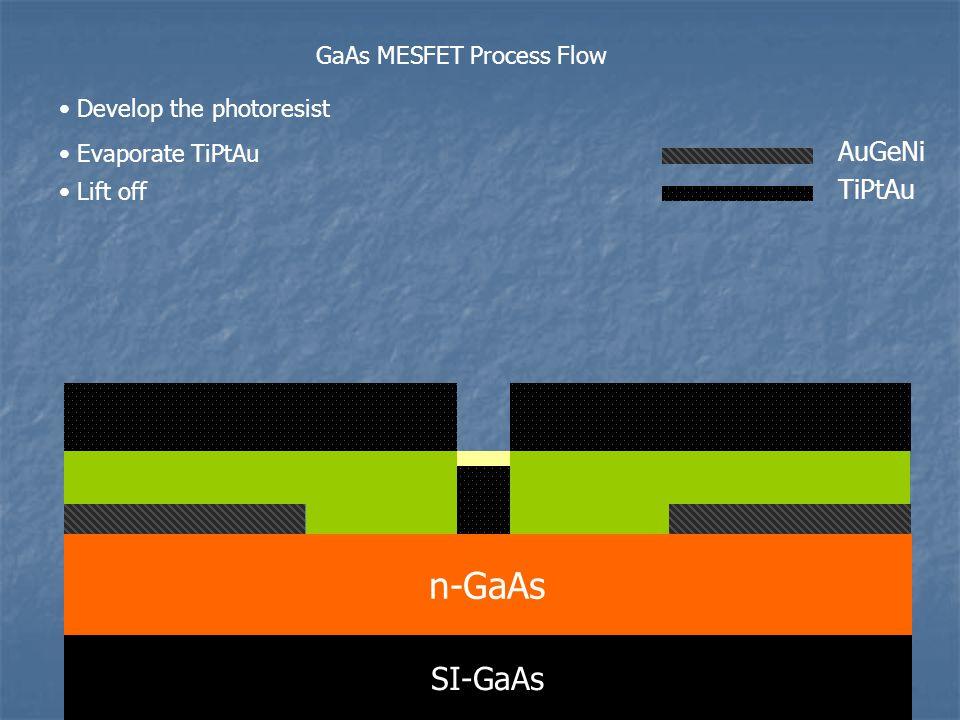 n-GaAs SI-GaAs AuGeNi TiPtAu GaAs MESFET Process Flow