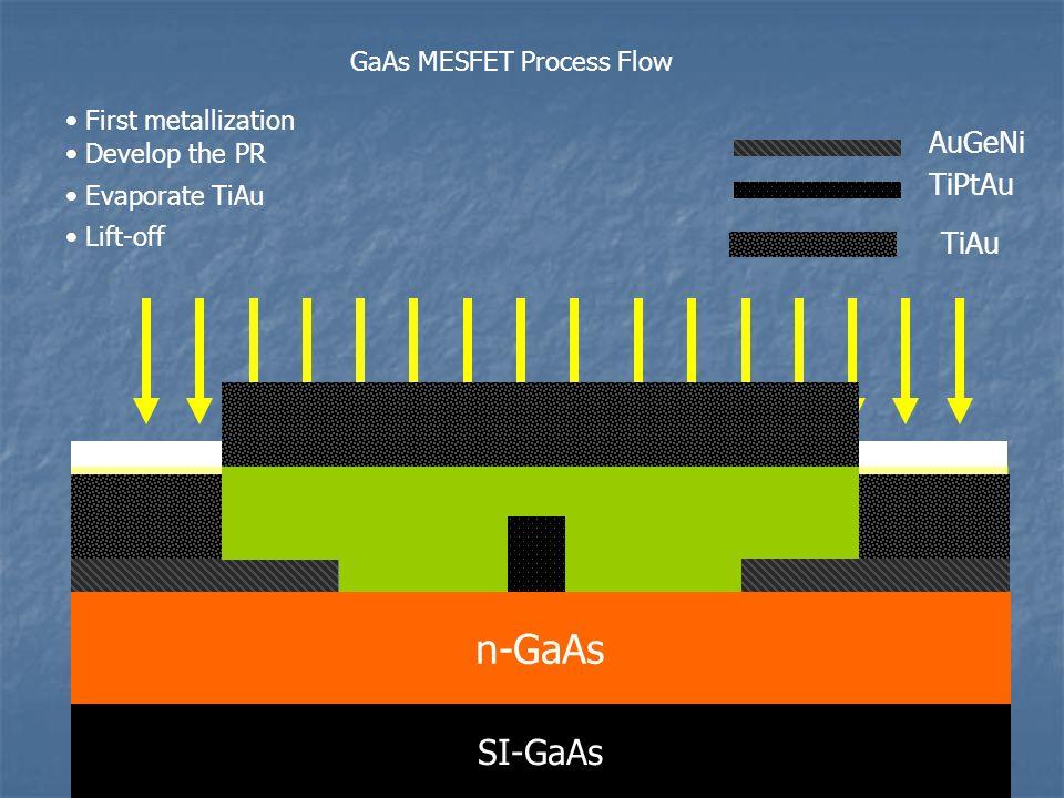 n-GaAs SI-GaAs AuGeNi TiPtAu TiAu GaAs MESFET Process Flow