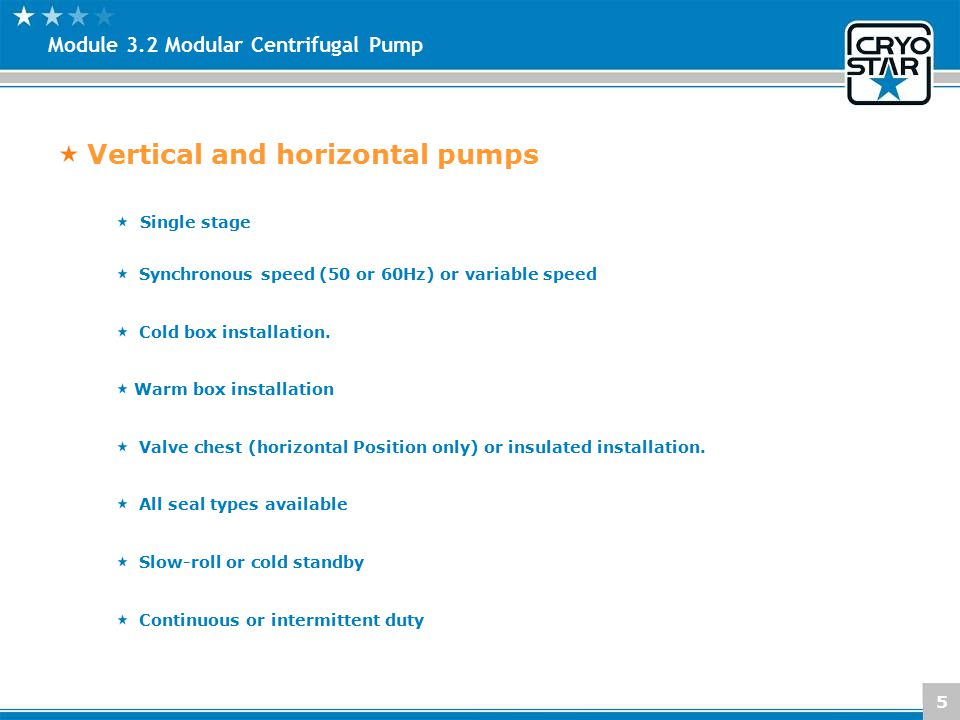 Vertical and horizontal pumps