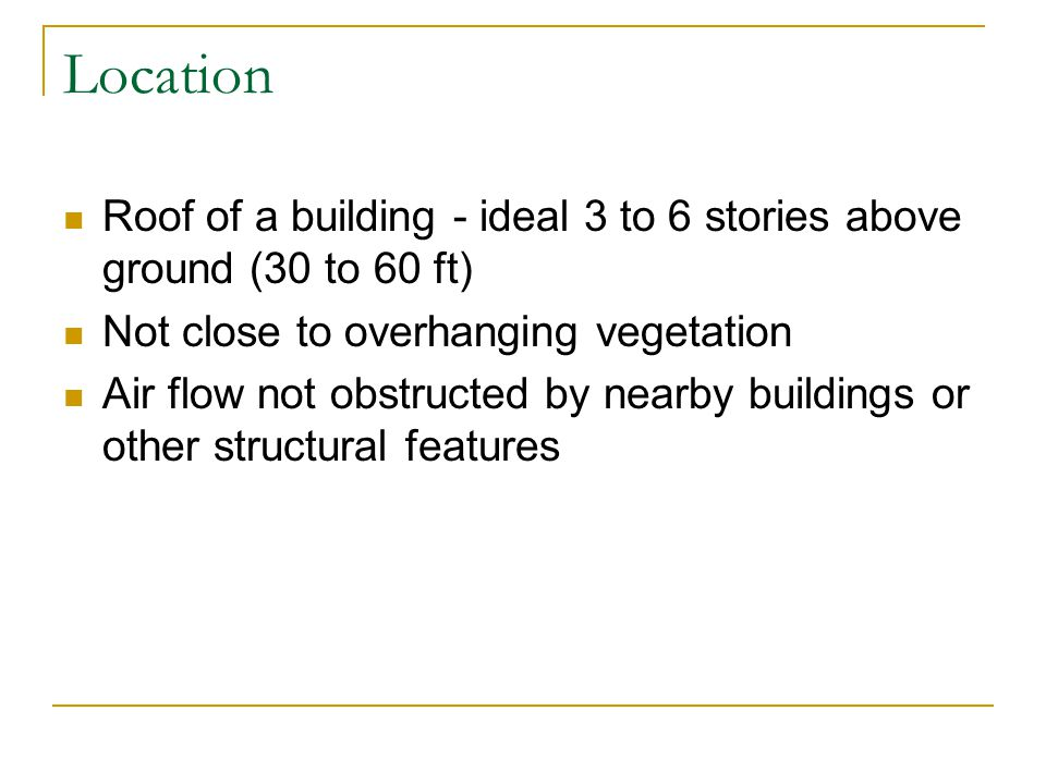 Location Roof of a building - ideal 3 to 6 stories above ground (30 to 60 ft) Not close to overhanging vegetation.