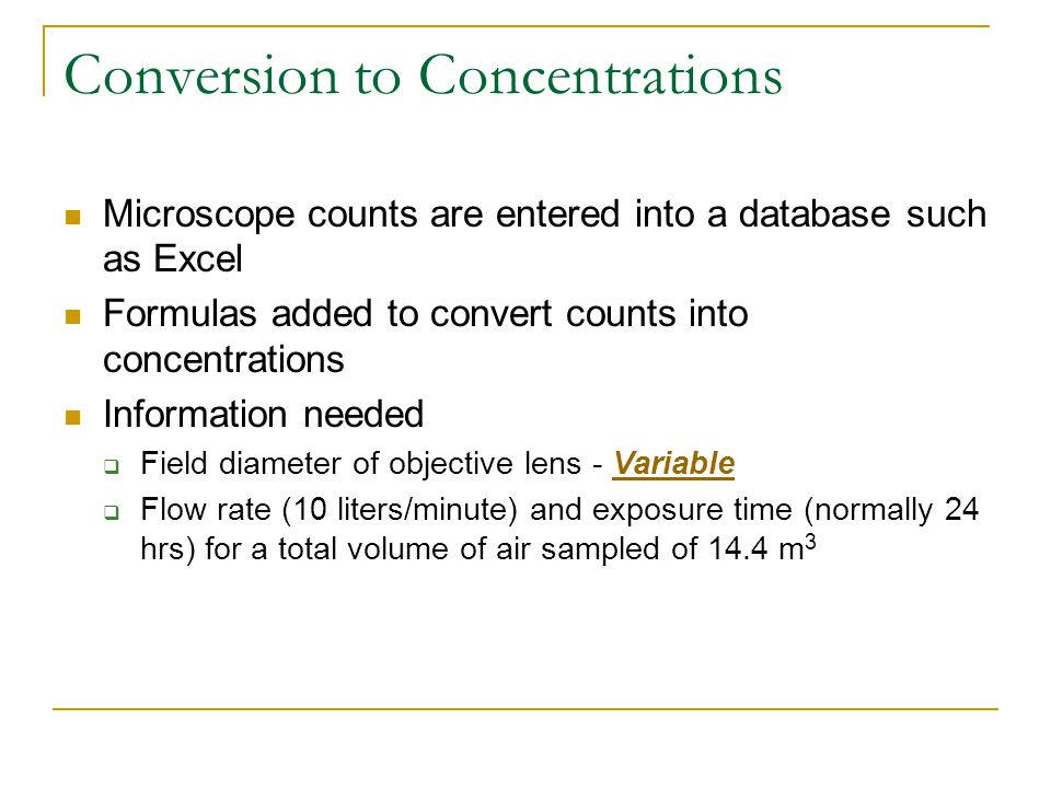 Conversion to Concentrations