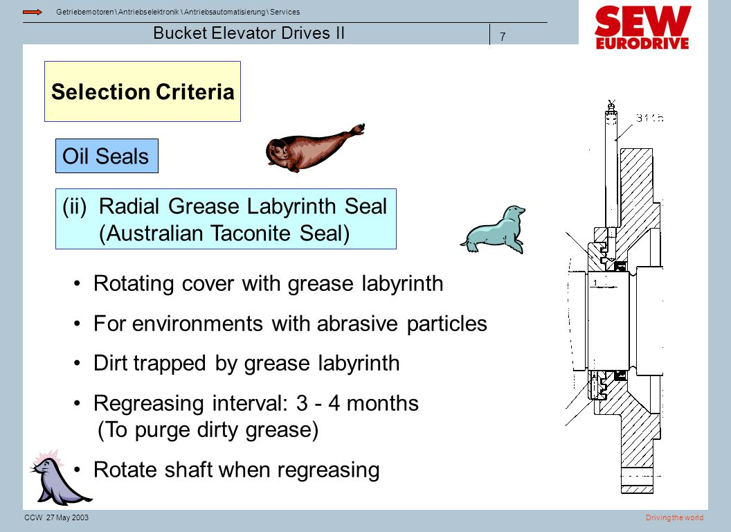 Selection Criteria Oil Seals. (ii) Radial Grease Labyrinth Seal (Australian Taconite Seal) Rotating cover with grease labyrinth.