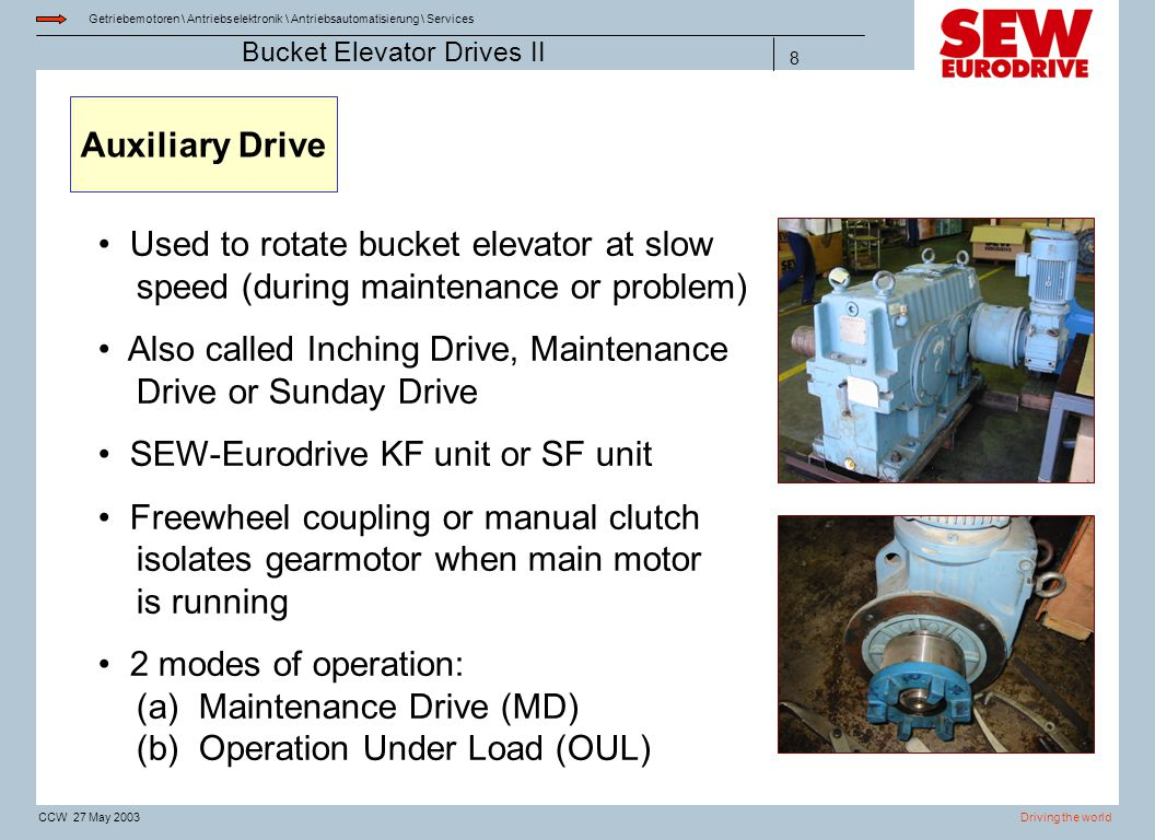 Auxiliary Drive Used to rotate bucket elevator at slow speed (during maintenance or problem)