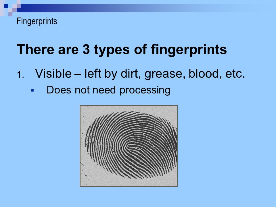 There are 3 types of fingerprints