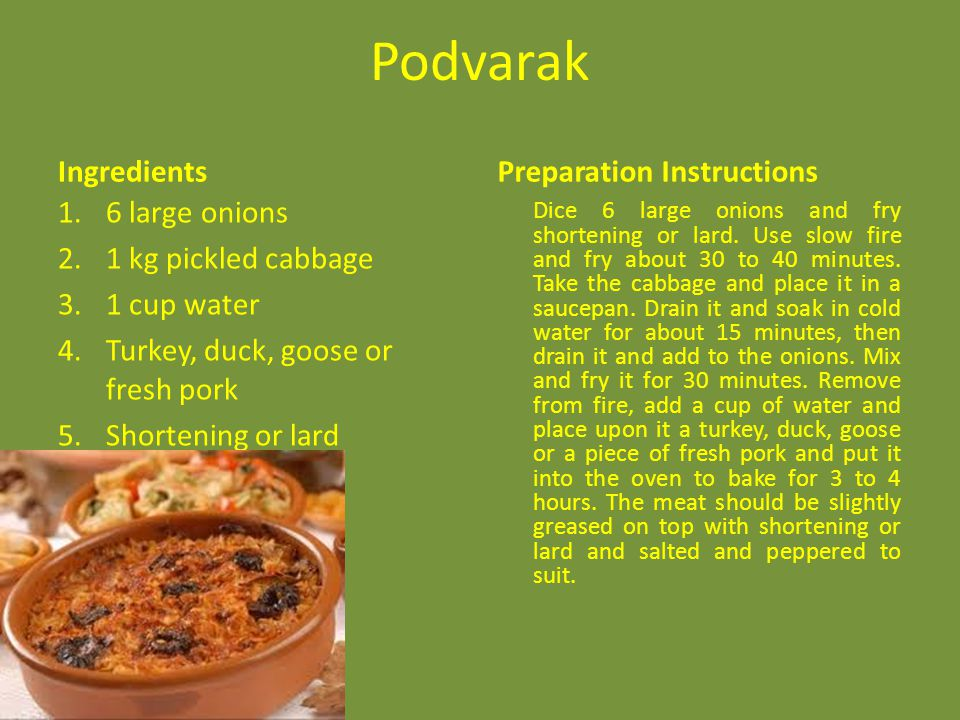 Podvarak Ingredients Preparation Instructions 6 large onions