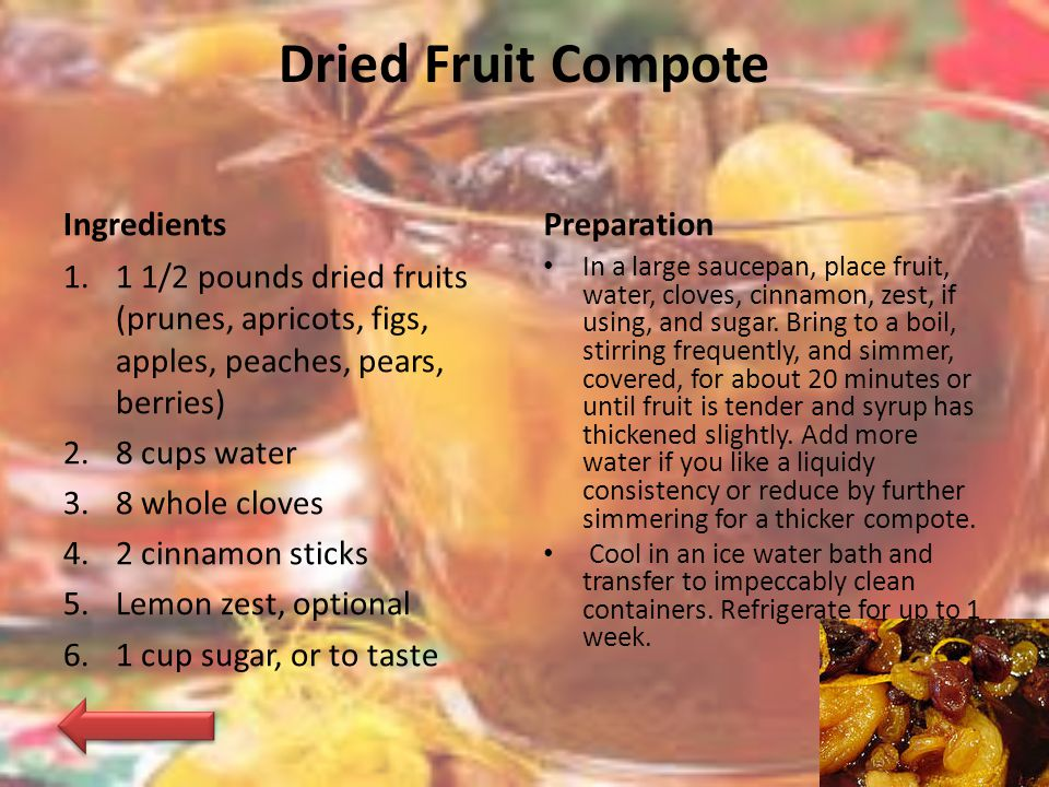 Dried Fruit Compote Ingredients Preparation