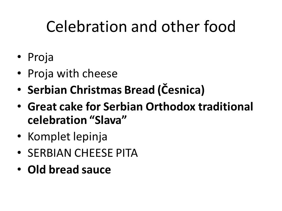 Celebration and other food