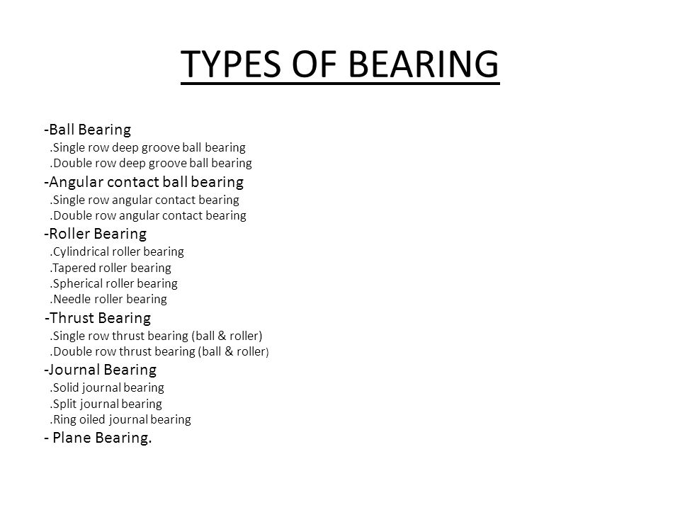 TYPES OF BEARING -Thrust Bearing -Ball Bearing