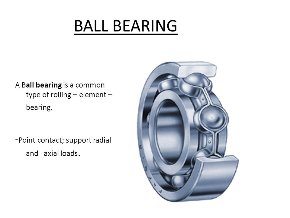 BALL BEARING -Point contact; support radial and axial loads.