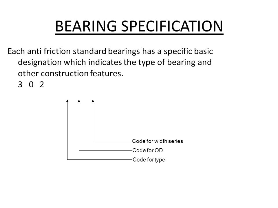 BEARING SPECIFICATION