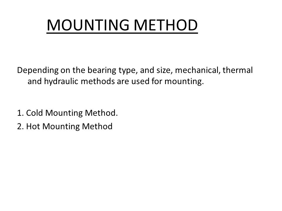 MOUNTING METHOD