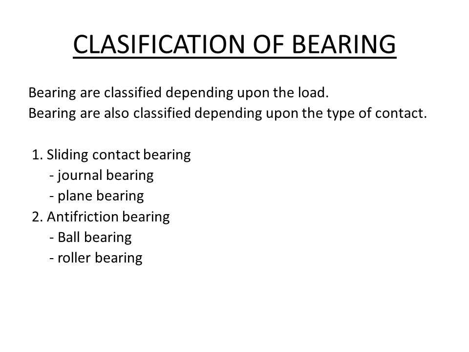 CLASIFICATION OF BEARING