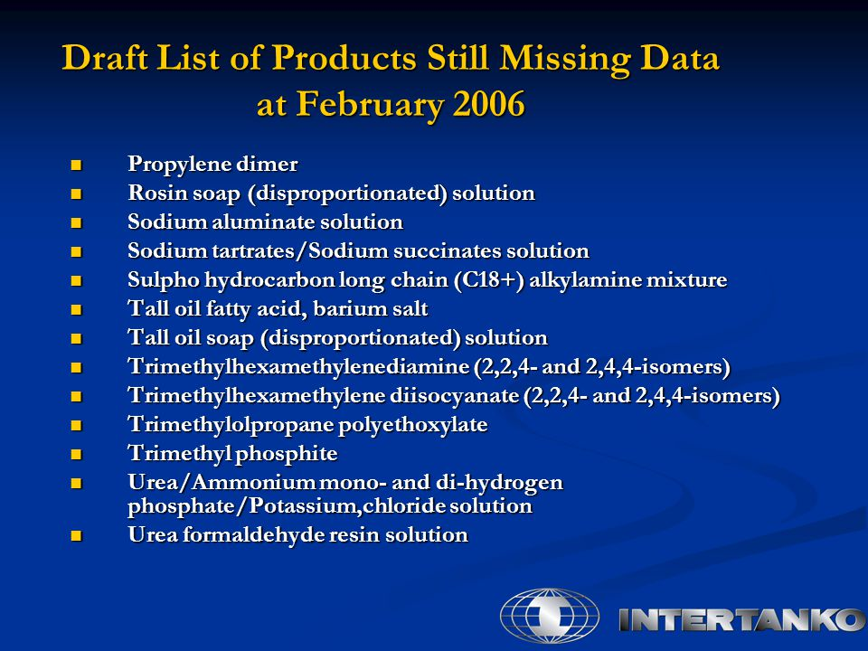 Draft List of Products Still Missing Data at February 2006