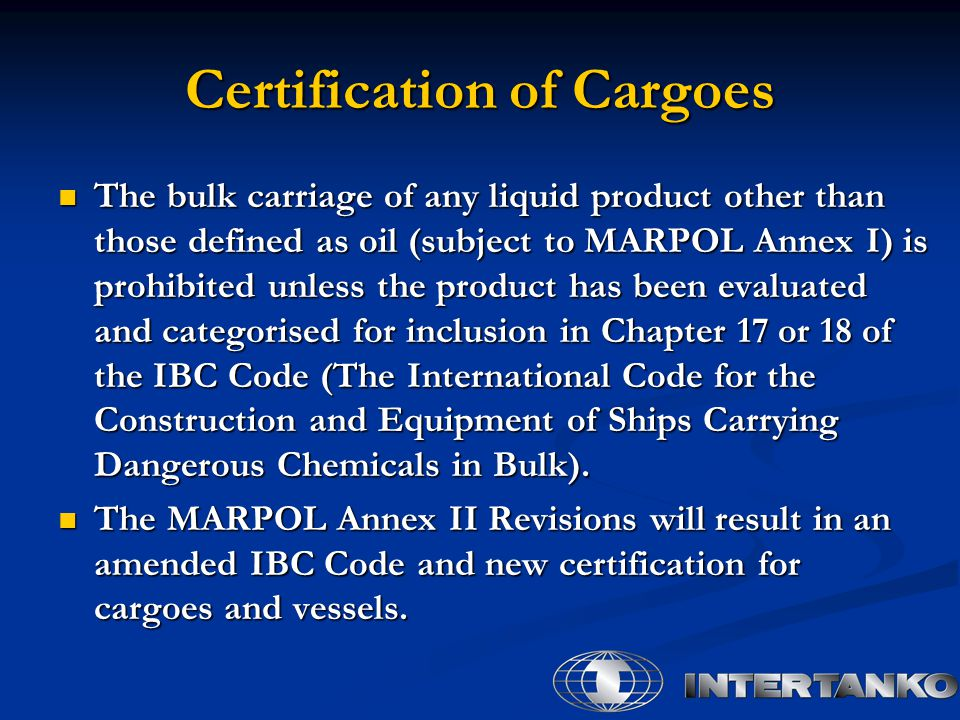 Certification of Cargoes