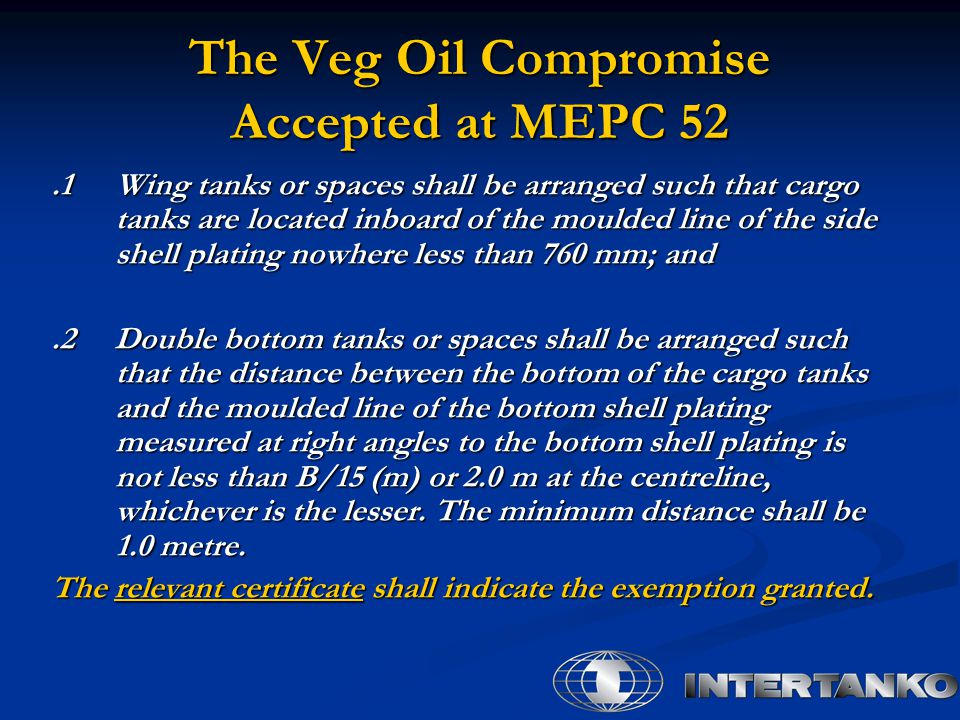 The Veg Oil Compromise Accepted at MEPC 52