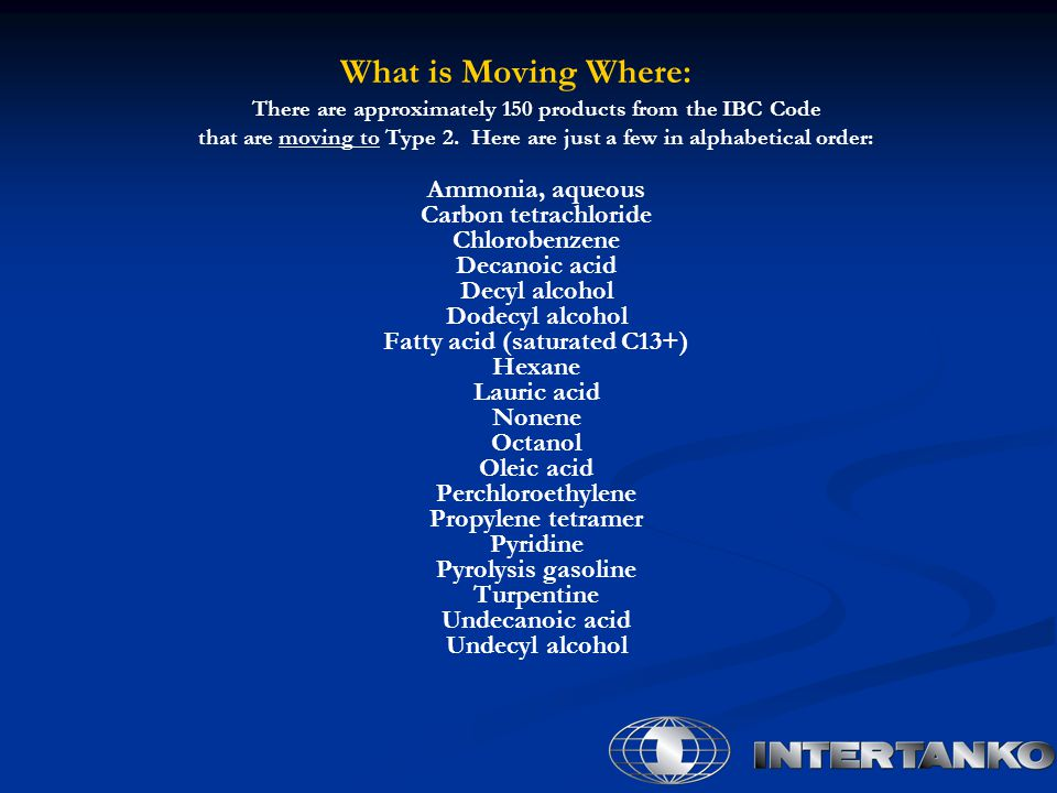 What is Moving Where: There are approximately 150 products from the IBC Code. that are moving to Type 2. Here are just a few in alphabetical order: