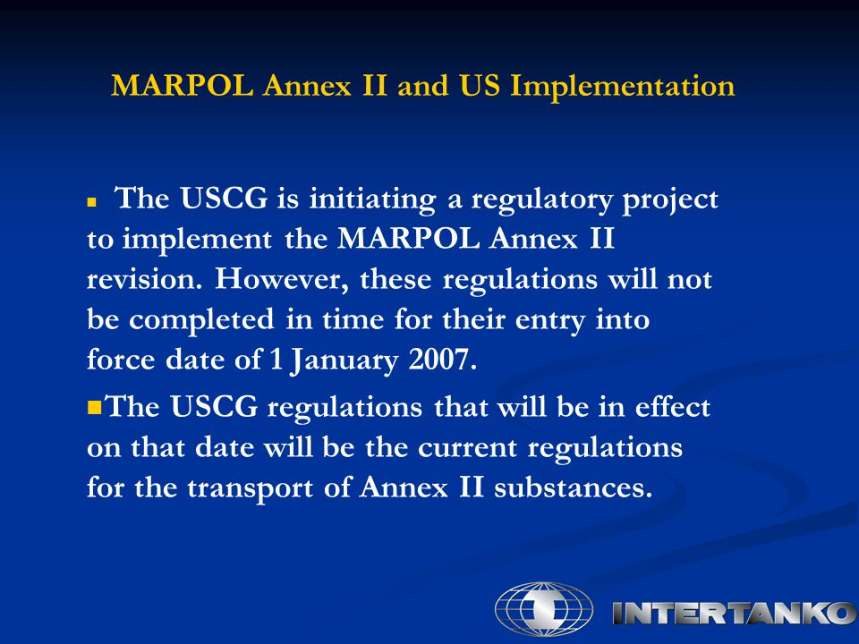 MARPOL Annex II and US Implementation