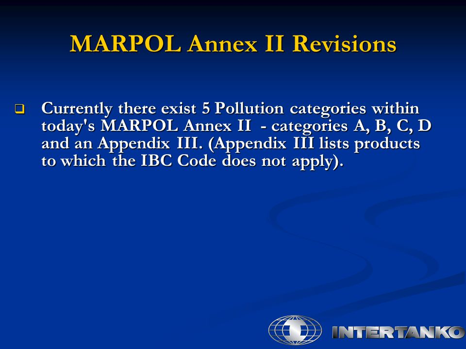 MARPOL Annex II Revisions