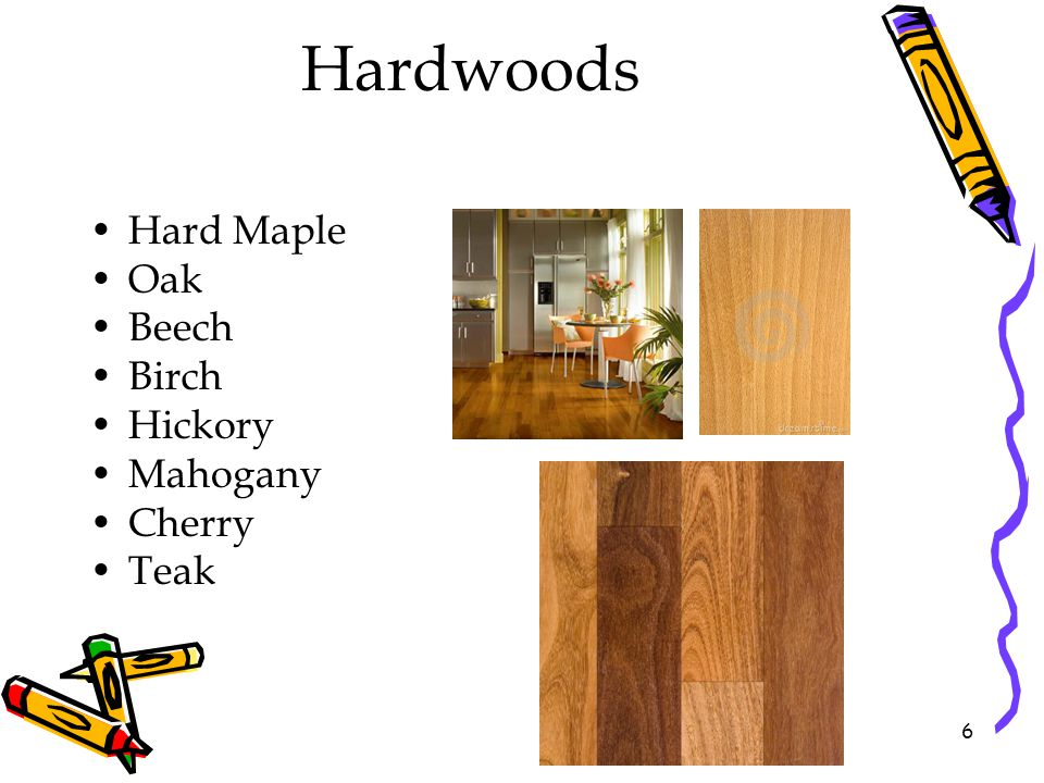 Hardwoods Hard Maple Oak Beech Birch Hickory Mahogany Cherry Teak